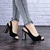 Женские черные босоножки на каблуке Galaxy 1711 (36 размер), фото 5
