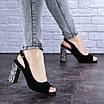 Женские черные босоножки на каблуке Galaxy 1711 (36 размер), фото 6