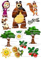 Вафельная картинка маша и медведь на торт пряники для торта пряников на капкейки топперы 2