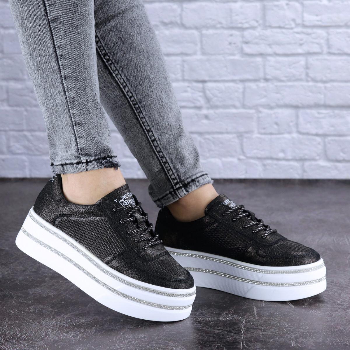 Женские черные кожаные кроссовки Erly 1717 (37 размер)