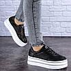 Женские черные кожаные кроссовки Erly 1717 (37 размер), фото 4