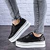 Женские черные кожаные кроссовки Erly 1717 (37 размер), фото 10