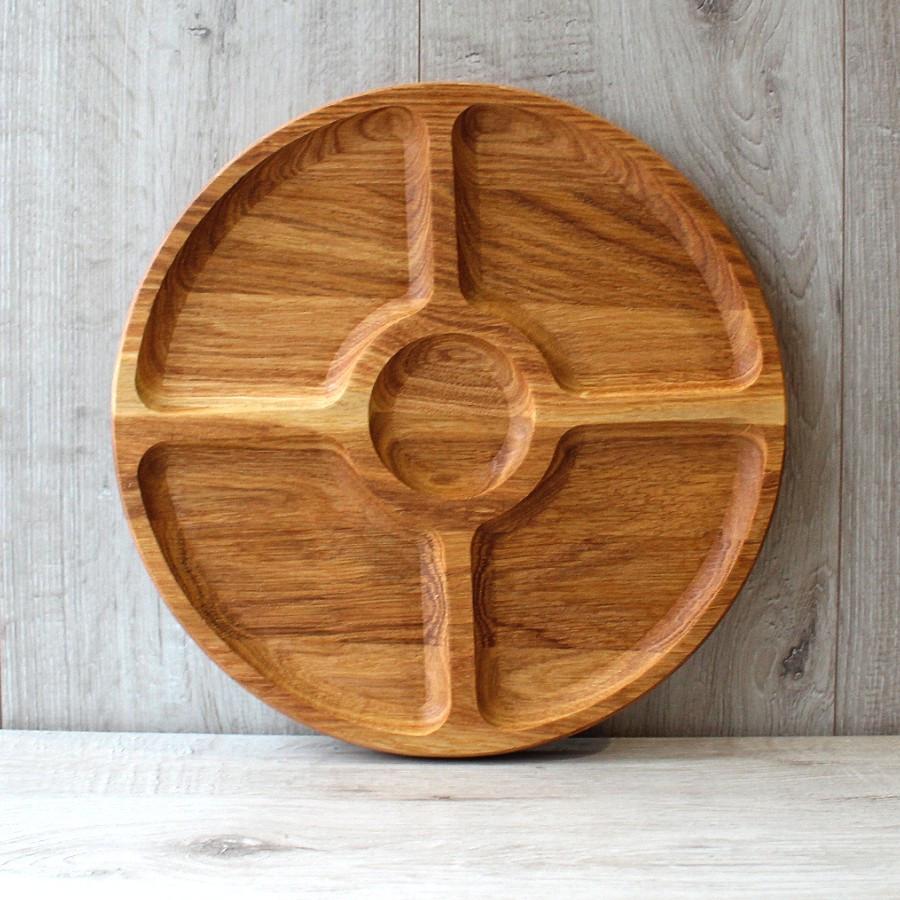 Менажниця дерев'яна кругла Ø 300 мм (Т62), дубова менажниця