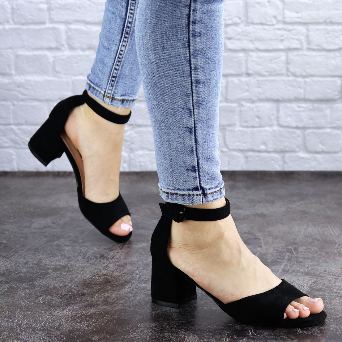 Женские босоножки на каблуке черные Kacey 1971 (36 размер)