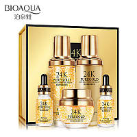 Подарочный набор с 24k золотом и гиалуроновой кислотой Bioaqua 24K Gold Skin Care (5 предметов)