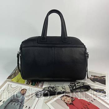 Женская кожаная сумка бочонок на плечо с широким ремешком Polina & Eiterou чёрная