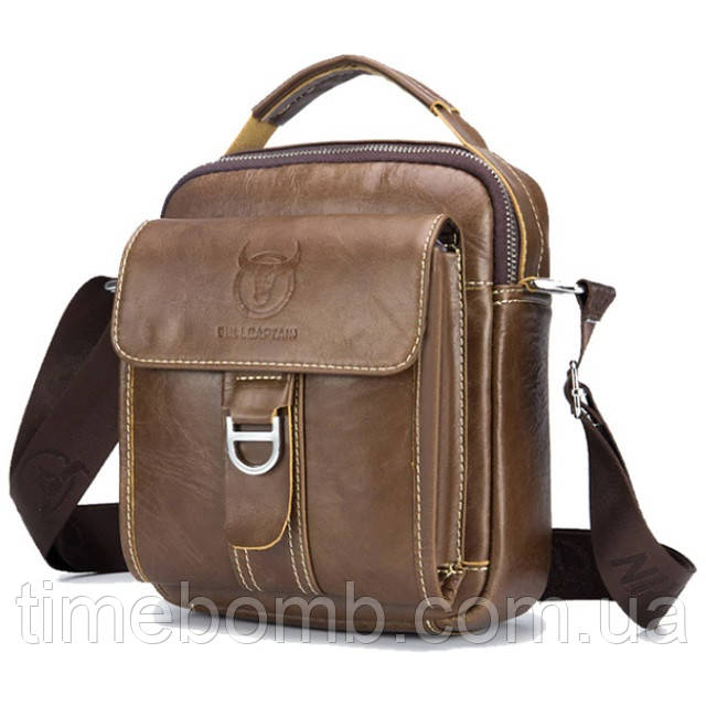 Мужская наплечная кожаная сумка барсетка BullCaptain коричневая 60-BR