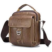 Мужская наплечная кожаная сумка барсетка BullCaptain коричневая 60-BR, фото 1