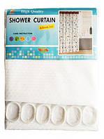 Штора для ванной тканевая Shower Curtain белая 180x180см, фото 1