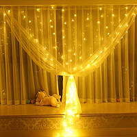 Уличная гирлянда штора на проводе (8м х 1,5м) на 600 LED / Гирлянда на окно