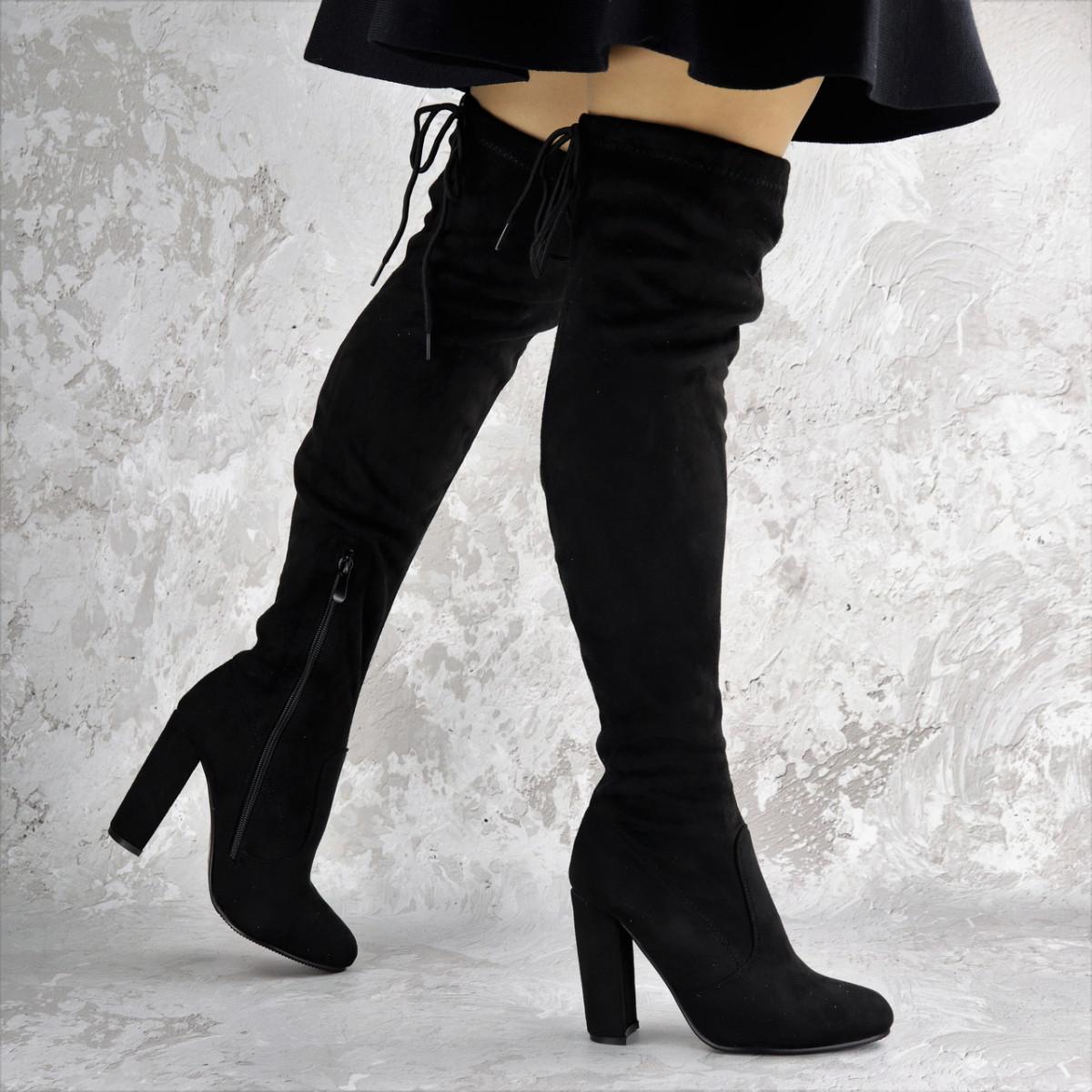 Женские ботфорты Vanilla черные на каблуке 1429 (40 размер)