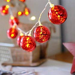 Лінійна гірлянда ColorWay Christmas lights ball 6 см 20 LED 3 м USB Red (CW-MC-LB20U)