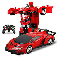 Игрушка машинка трансформер робот на пульте управления автобот Robot Car Lamborghin красный