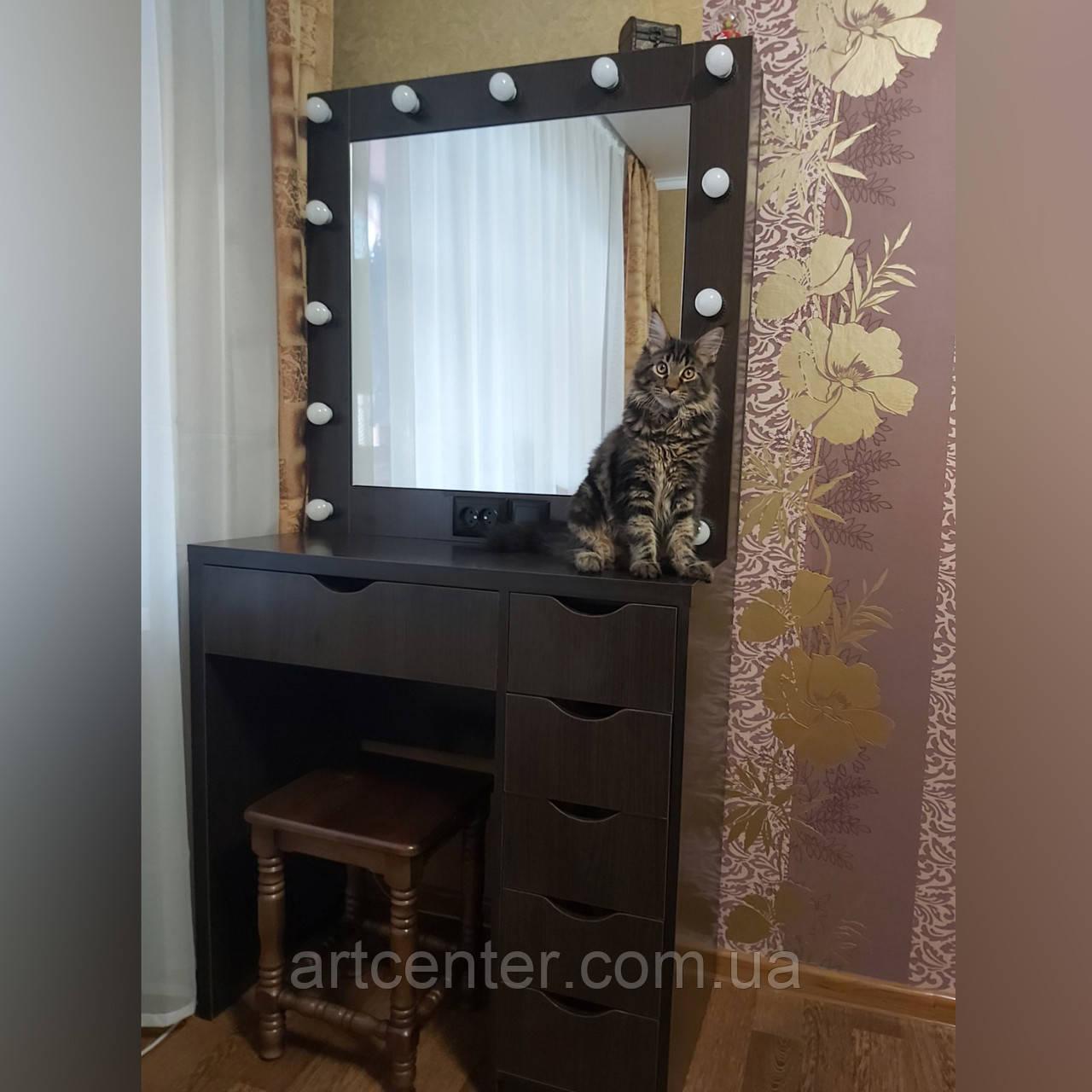 Стола для макияжа, визажный стол с ящиками, зеркало с подсветкой открывается
