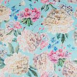 Ткань для мебели велюр принт Пионы, фото 3