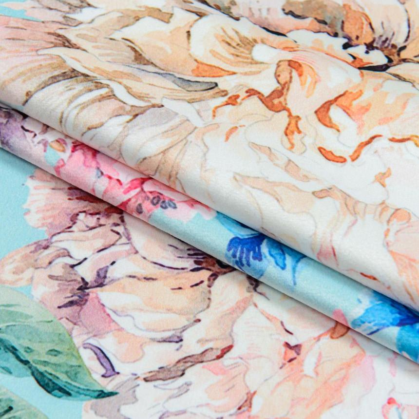 Ткань для мебели велюр принт Пионы