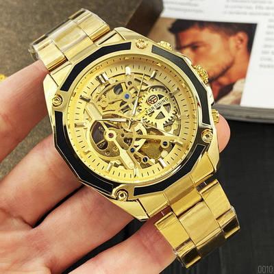 Мужские часы Forsining 8130 All Gold Automatic Механика с автоподзаводом