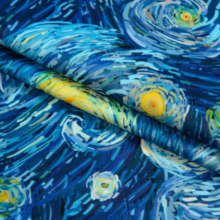 Ткань для мебели велюр принт Ван Гог