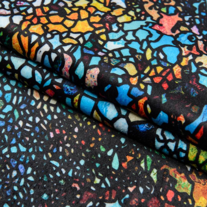 Ткань для мебели велюр принт Витраж