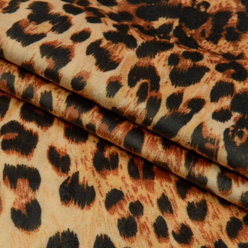 Ткань для мебели велюр принт Леопард