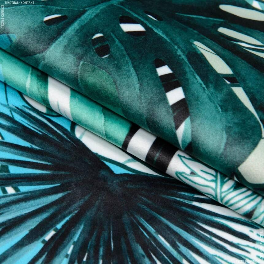 Ткань для мебели велюр принт Монстера