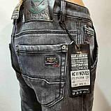 Теплые зимние потертые мужские прямые джинсы на флисе Черные, фото 6