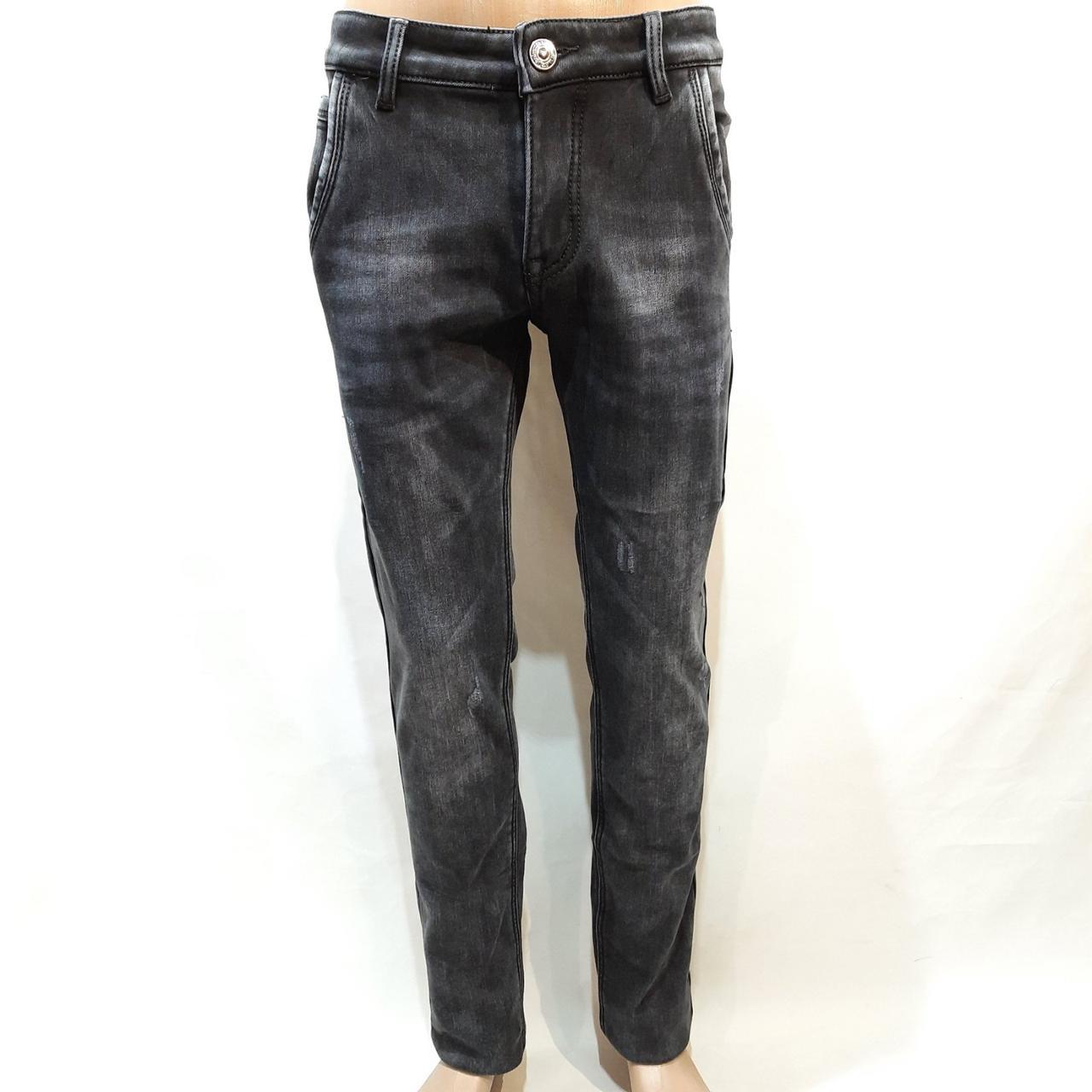 Теплые зимние потертые мужские прямые джинсы на флисе Черные