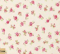Ткань с цветочным рисунком, бутоны роз, № PS-3, ванильный, розовый, хлопок 100%