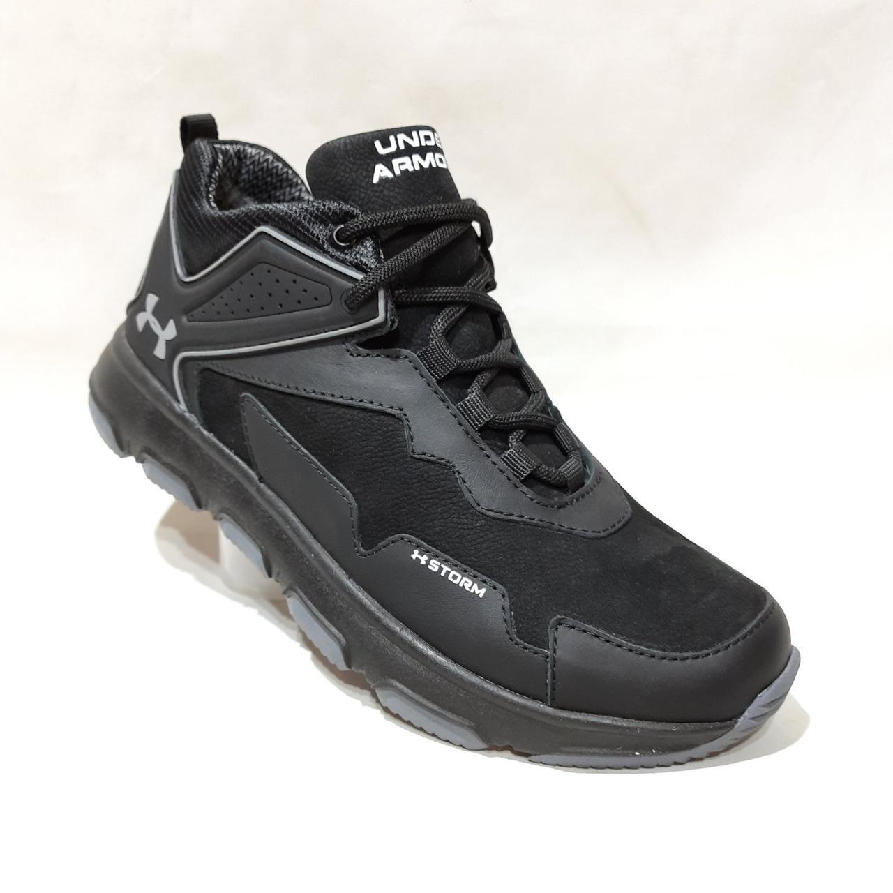 Зимние мужские кроссовки из натуральной кожи теплые ботинки на меху Черные