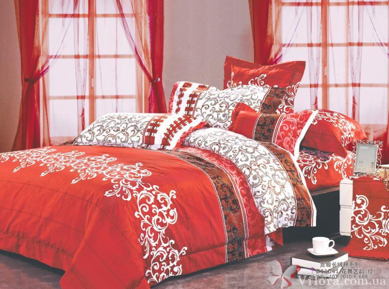 Двуспальное постельное белье Вилюта, ранфорс 8630-красный
