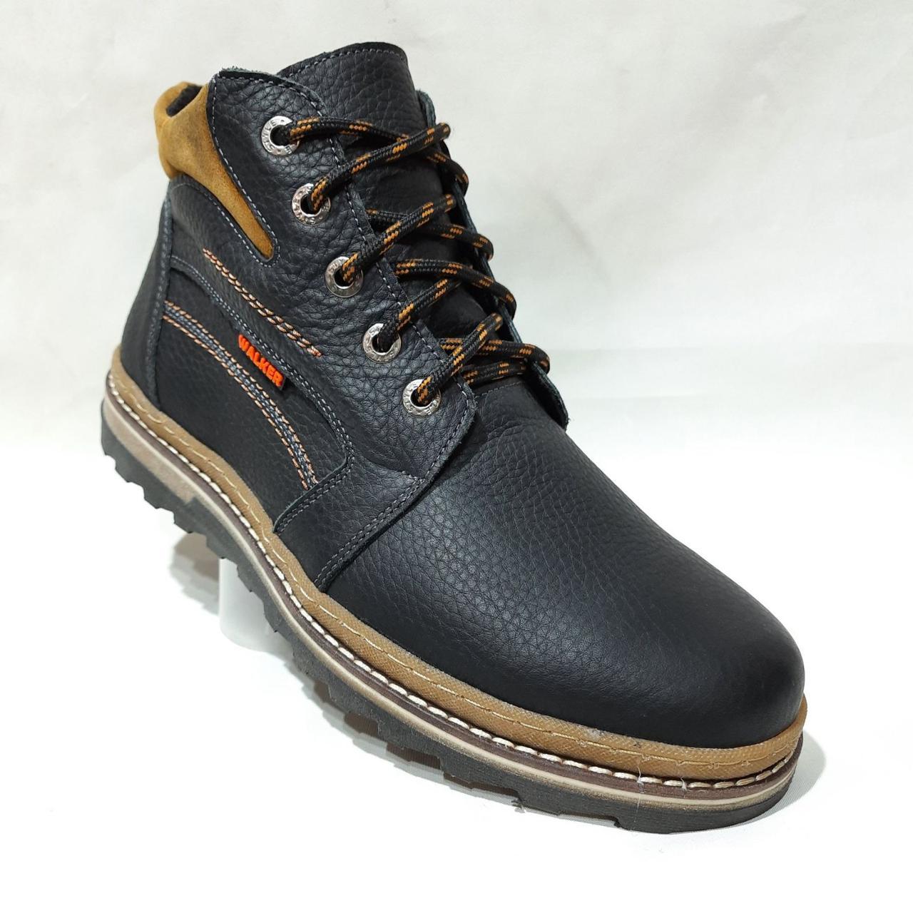 Зимние мужские ботинки из натуральной кожи теплые на меху Черные