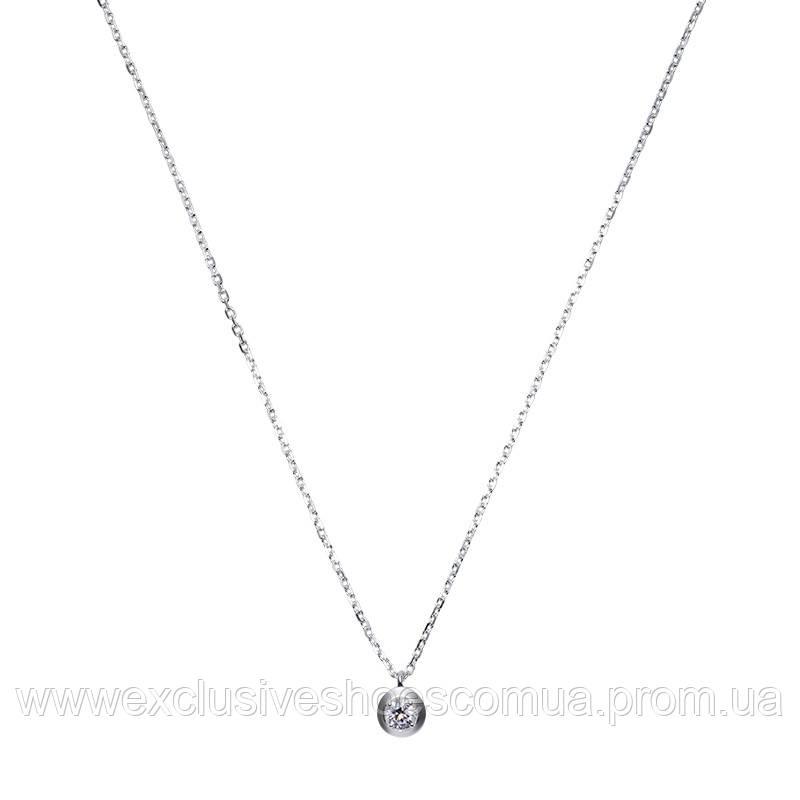 Серебряная цепочка - колье с маленьким камушком