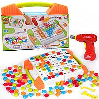 Развивающая игра Fun Game Мозаика «Крутелики», 119 деталей, шуруповерт (83336)