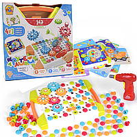 Развивающая игра Fun Game Мозаика «Крутелики», 147 деталей, шуруповерт, 12 карточек (78078)