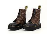 Женские ботинки Dr Martens LV в стиле Доктор Мартинс Черные НА МЕХУ (Реплика ААА+), фото 5