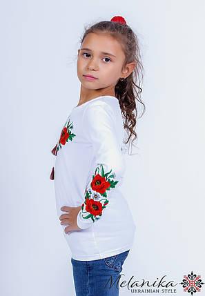 Вышитая футболка для девочки с длинным рукавом с маками на груди «Маковое поле», фото 2