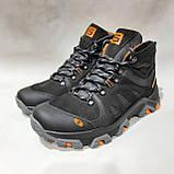 Зимние мужские спортивные ботинки из натуральной кожи теплые кроссовки на меху Черные, фото 4