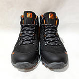 Зимние мужские спортивные ботинки из натуральной кожи теплые кроссовки на меху Черные, фото 2