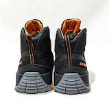 Зимние мужские спортивные ботинки из натуральной кожи теплые кроссовки на меху Черные, фото 7
