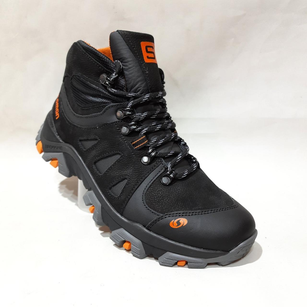 Зимние мужские спортивные ботинки из натуральной кожи теплые кроссовки на меху Черные