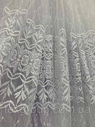 Красивый фатиновый тюль на метраж белого цвета, фото 2