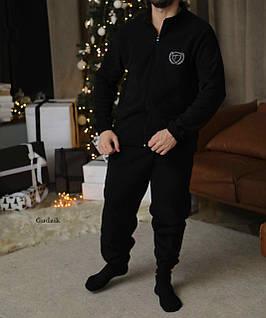 Мужской теплый домашний костюм на флисе преиум качества