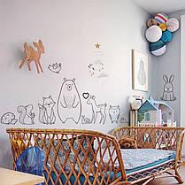 """Наклейка на стіну, наклейка в дитячий сад, в дитячу """"Життя в лісі Forest Life"""" 45см*120см (лист 30*90см), фото 3"""