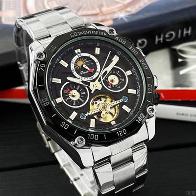 Стильные наручные мужские часы  Forsining 6913 Silver-Black