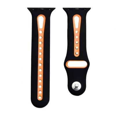 Ремешок для Apple Watch Sport 42 / 44mm Цвет Чёрно-Оранжевый