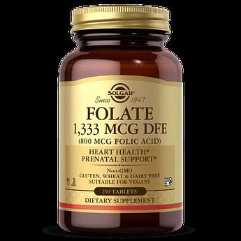 Фолієва кислота Solgar Folate 1 333 mcg DFE (Folic Acid 800 mcg) (250 капсул) солгар