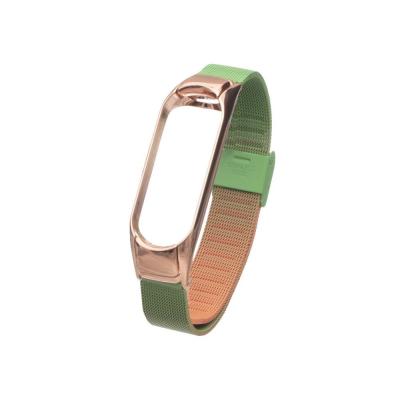 Ремешок для Xiaomi Mi Band 3 / 4 Milanese Loop Gradient Цвет 02, Оранжево-Зелёный