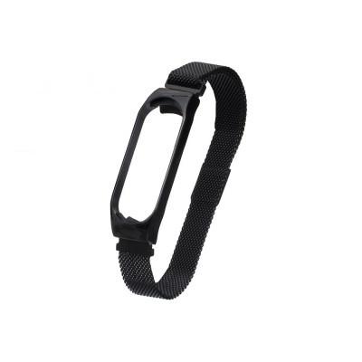 Ремешок для Xiaomi Mi Band 3 / 4 Milanese Loop Цвет Чёрный