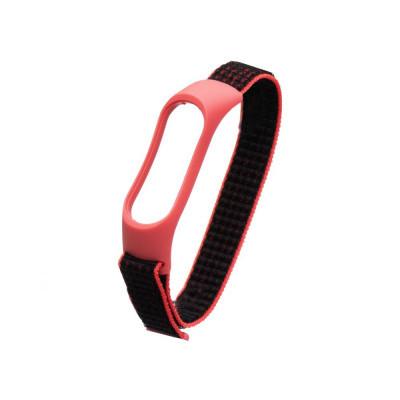 Ремешок для Xiaomi Mi Band 3 / 4 Nylon Цвет Красно-Чёрный