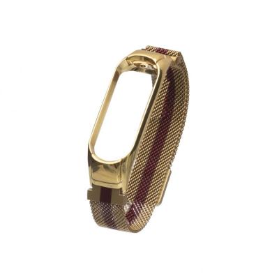Ремешок для Xiaomi Mi Band 4 Milanese Loop Color Цвет Золото-Красный